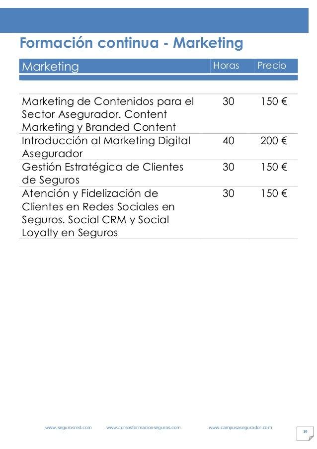 www.segurosred.com www.cursosformacionseguros.com www.campusasegurador.com 19 Formación continua - Marketing Marketing Hor...