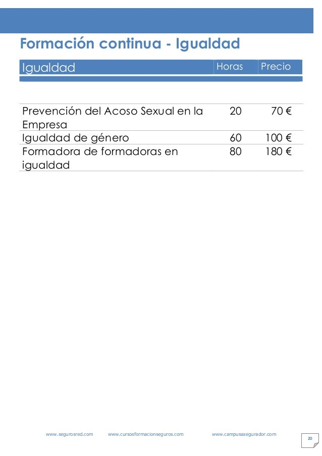 www.segurosred.com www.cursosformacionseguros.com www.campusasegurador.com 20 Formación continua - Igualdad Igualdad Horas...