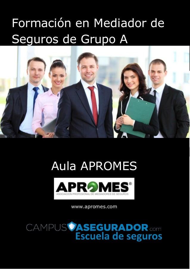 Página | 1 Formación en Mediador de Seguros de Grupo A Aula APROMES www.apromes.com