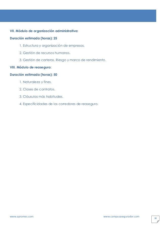 www.apromes.com www.campusasegurador.com 16 VII. Módulo de organización administrativa: Duración estimada (horas): 25 1. E...