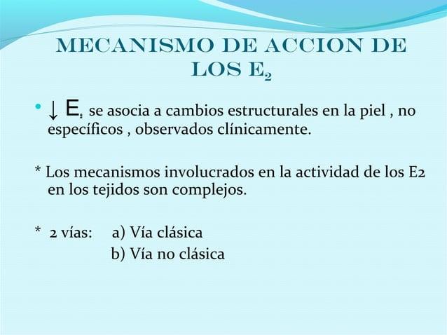 MECANISMO DE ACCION DELOS E2• ↓ E2 se asocia a cambios estructurales en la piel , noespecíficos , observados clínicamente....