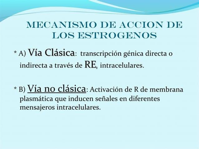 MECANISMO DE ACCION DELOS ESTROGENOS* A) Vía ClásicaVía Clásica: transcripción génica directa oindirecta a través de RERE2...