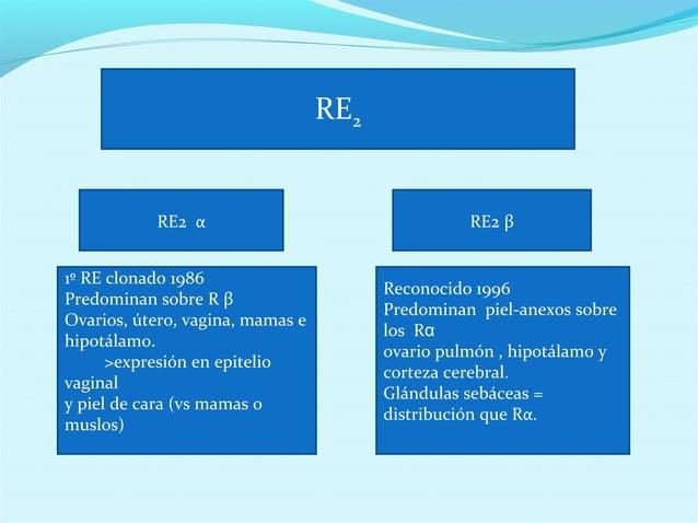 RE2RE2 α RE2 β1º RE clonado 1986Predominan sobre R βOvarios, útero, vagina, mamas ehipotálamo.>expresión en epiteliovagina...