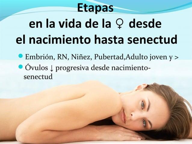 Etapasen la vida de la desde♀el nacimiento hasta senectudEmbrión, RN, Niñez, Pubertad,Adulto joven y >Óvulos ↓ progresiv...