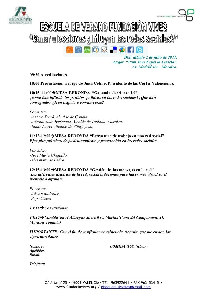 """Día: sábado 2 de julio de 2011.                                                Lugar """"Punt Jove Espai la Senieta"""".        ..."""