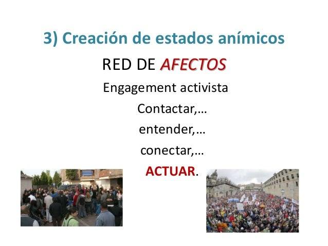 3) Creación de estados anímicos RED DE AFECTOS Engagement activista Contactar,… entender,… conectar,… ACTUAR.