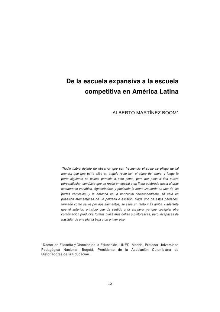 De la escuela expansiva a la escuela                           competitiva en América Latina                              ...