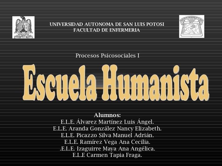 UNIVERSIDAD AUTONOMA DE SAN LUIS POTOSI FACULTAD DE ENFERMERIA Procesos Psicosociales I Alumnos: E.L.E. Álvarez Martínez L...
