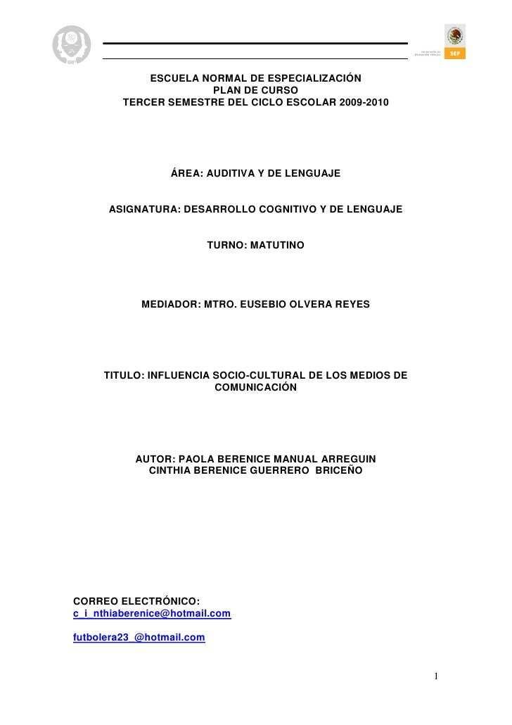 ESCUELA NORMAL DE ESPECIALIZACIÓN                       PLAN DE CURSO          TERCER SEMESTRE DEL CICLO ESCOLAR 2009-2010...