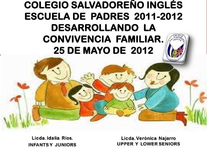 COLEGIO SALVADOREÑO INGLÉSESCUELA DE PADRES 2011-2012    DESARROLLANDO LA   CONVIVENCIA FAMILIAR.    25 DE MAYO DE 2012