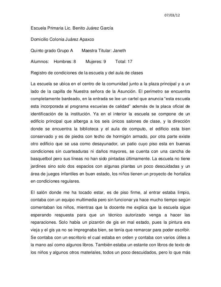 07/03/12Escuela Primaria Lic. Benito Juárez GarcíaDomicilio Colonia Juárez ApaxcoQuinto grado Grupo A        Maestra Titul...
