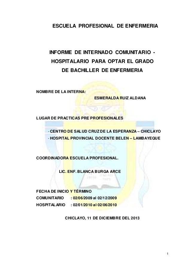 1  ESCUELA PROFESIONAL DE ENFERMERIA  INFORME DE INTERNADO COMUNITARIO -  HOSPITALARIO PARA OPTAR EL GRADO  DE BACHILLER D...