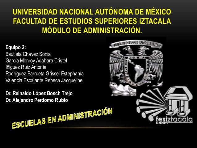 UNIVERSIDAD NACIONAL AUTÓNOMA DE MÉXICO FACULTAD DE ESTUDIOS SUPERIORES IZTACALA MÓDULO DE ADMINISTRACIÓN. Equipo 2: Bauti...