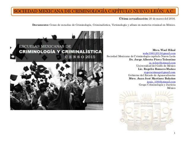 censo de escuelas de criminolog a criminal stica