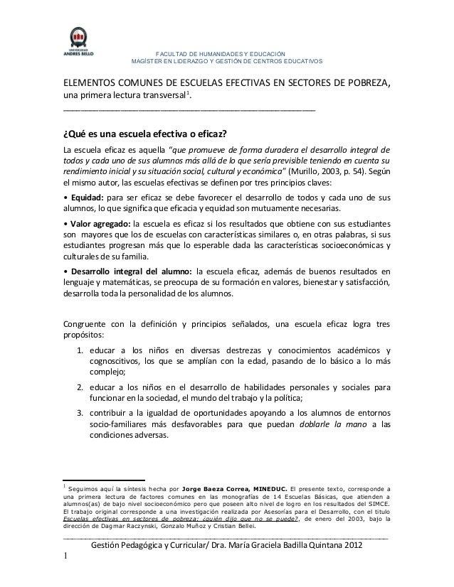 FACULTAD DE HUMANIDADES Y EDUCACIÓNMAGÍSTER EN LIDERAZGO Y GESTIÓN DE CENTROS EDUCATIVOSELEMENTOS COMUNES DE ESCUELAS EFEC...