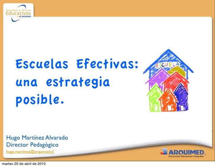 Escuelas Efectivas:         una estrategia         posible.    Hugo Martínez Alvarado   Director Pedagógico   hugo.martine...