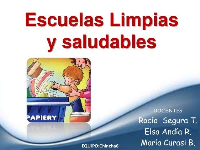 Escuelas Limpias y saludables DOCENTES Rocío Segura T. Elsa Andía R. María Curasi B.EQUIPO:Chincha6