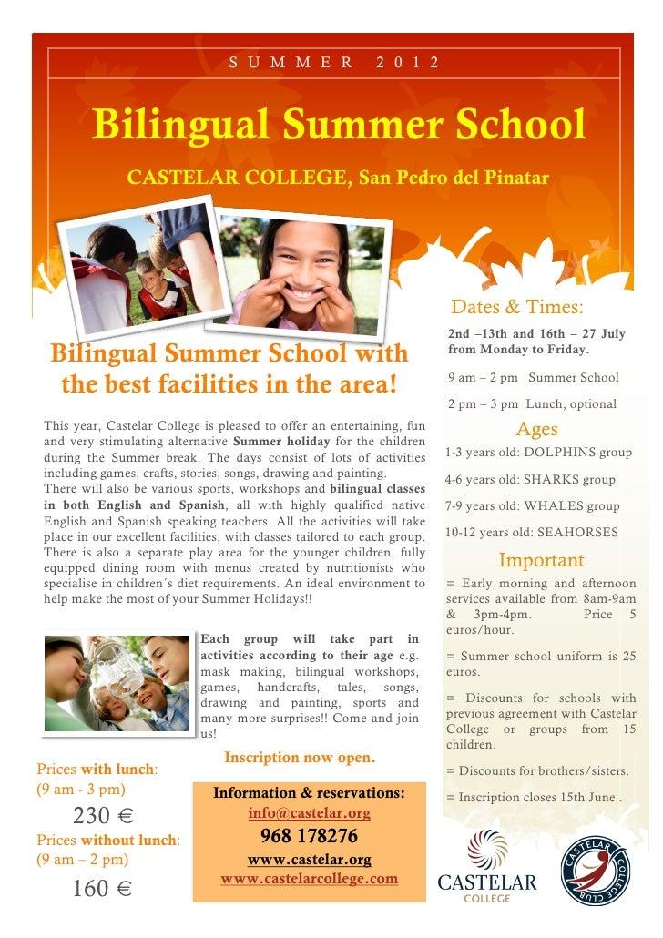 S U M M E R                2 0 1 2         Bilingual Summer School                CASTELAR COLLEGE, San Pedro del Pinatar ...