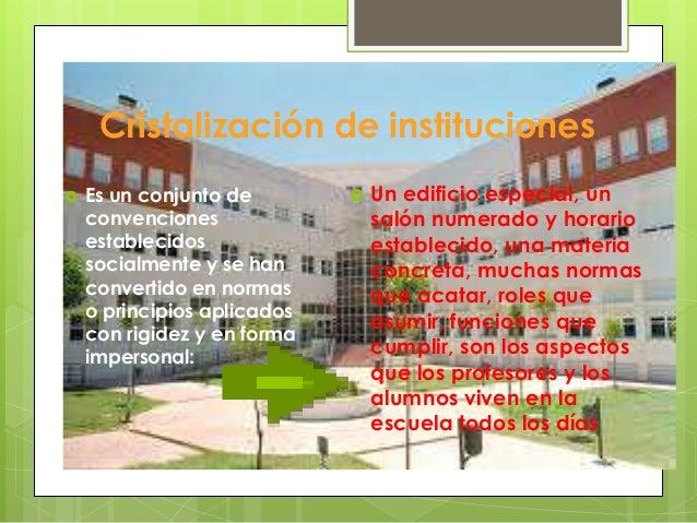 Cristalización de instituciones   Es un conjunto de           Un edificio especial, un    convenciones                 s...