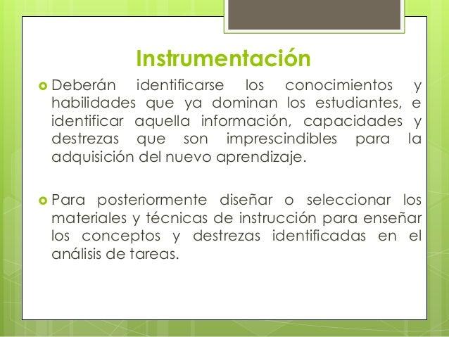 Instrumentación Deberán    identificarse los conocimientos     y habilidades que ya dominan los estudiantes,     e identi...