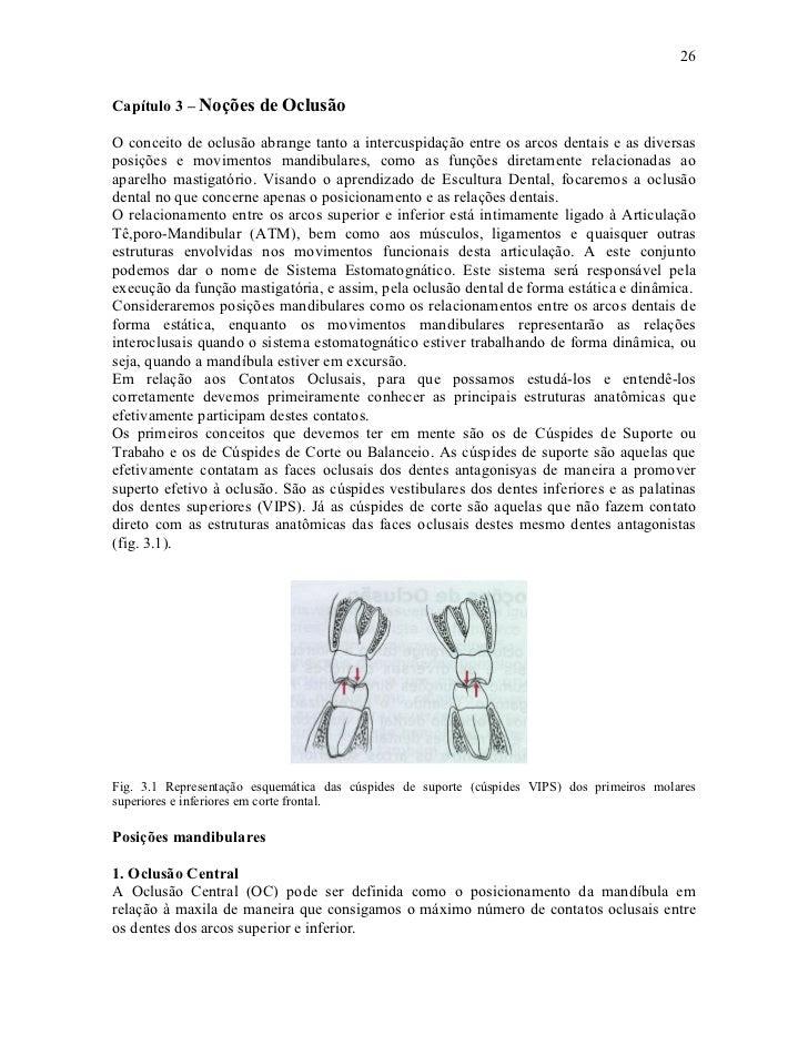 26Capítulo 3 – Noções de OclusãoO conceito de oclusão abrange tanto a intercuspidação entre os arcos dentais e as diversas...
