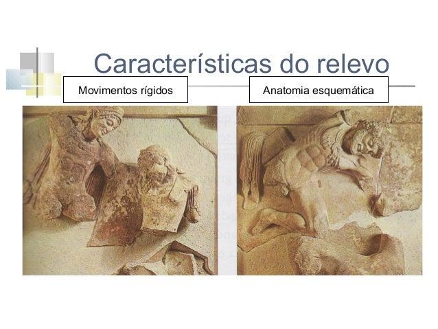 Características do relevo Movimentos rígidos  Rostos orientalizantes  Anatomia esquemática  Barba e cabelo geometrizados