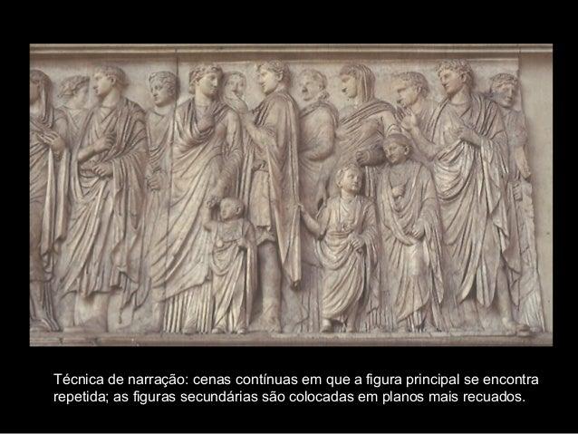 Técnica de narração: cenas contínuas em que a figura principal se encontra repetida; as figuras secundárias são colocadas ...