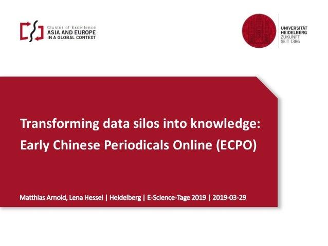 Transforming data silos into knowledge: Early Chinese Periodicals Online (ECPO) Matthias Arnold, Lena Hessel | Heidelberg ...