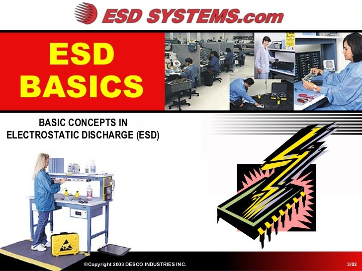 ESD  BASICS      BASIC CONCEPTS INELECTROSTATIC DISCHARGE (ESD)              ©Copyright 2003 DESCO INDUSTRIES INC.   3/02
