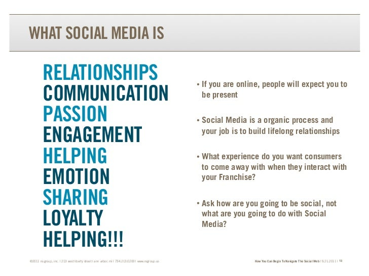 WHAT SOCIAL MEDIA IS         RELATIONSHIPS                                                                           •   I...