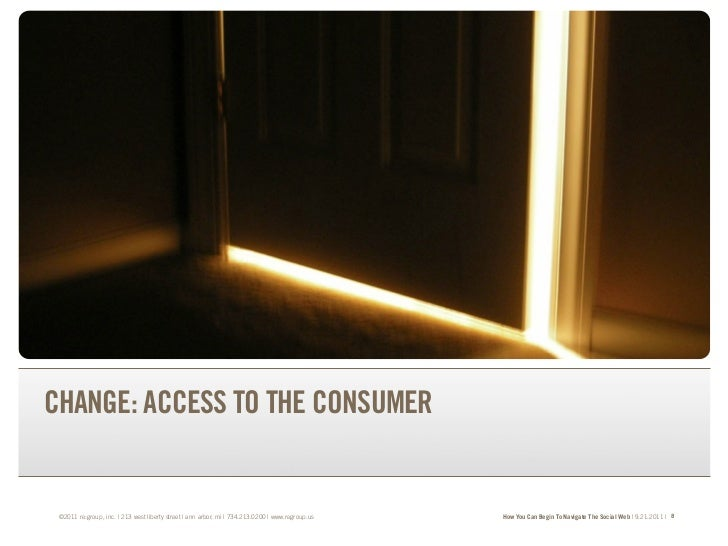 TRANSFORM YOUR BRAND.TRANSFORM YOUR BUSINESS.CHANGE: ACCESS TO THE CONSUMER ©2011 re:group, inc. | 213 west liberty street...