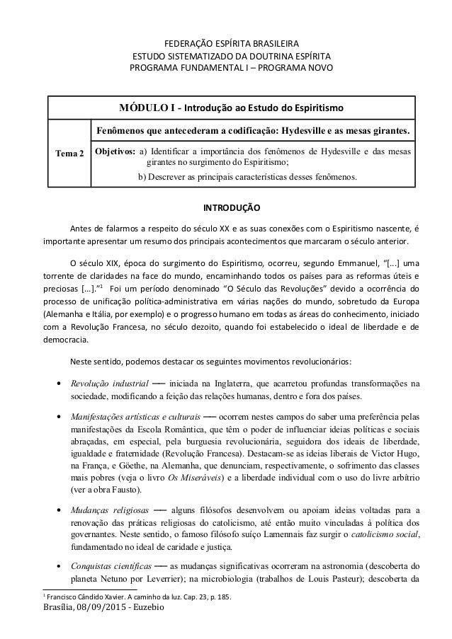 FEDERAÇÃO ESPÍRITA BRASILEIRA ESTUDO SISTEMATIZADO DA DOUTRINA ESPÍRITA PROGRAMA FUNDAMENTAL I – PROGRAMA NOVO MÓDULO I - ...