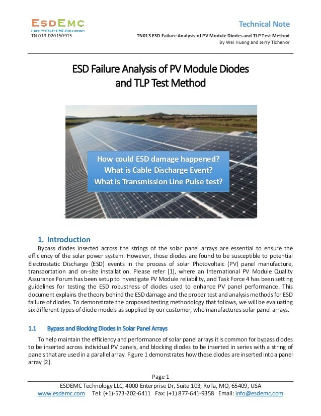 Technical Note TN.013.D20150915 TN013 ESD Failure Analysis of PV Module Diodes and TLP Test Method By Wei Huang and Jerry ...