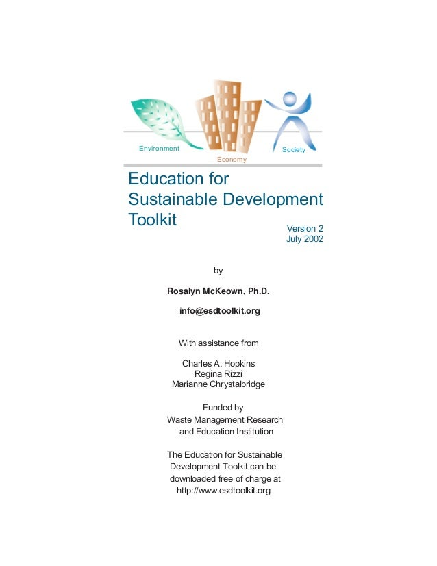 Environment                            Society                       EconomyEducation forSustainable DevelopmentToolkit   ...