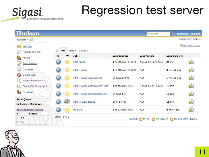Regression test server     • one button release                                       11
