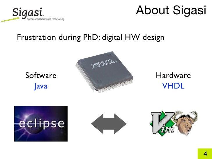 About Sigasi  Frustration during PhD: digital HW design      Software                            Hardware     Java        ...