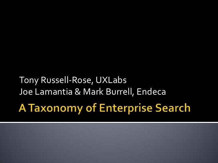 Tony Russell-Rose, UXLabsJoe Lamantia & Mark Burrell, Endeca