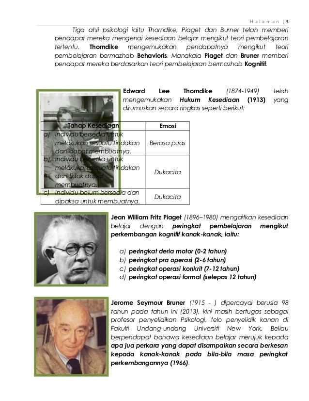 H a l a m a n   3 Tiga ahli psikologi iaitu Thorndike, Piaget dan Burner telah memberi pendapat mereka mengenai kesediaan ...