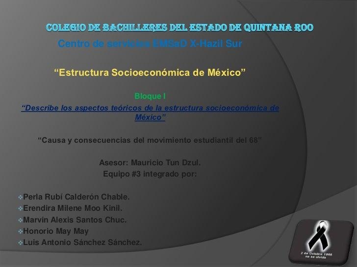 "Centro de servicios EMSaD X-Hazil Sur         ""Estructura Socioeconómica de México""                             Bloque I""D..."