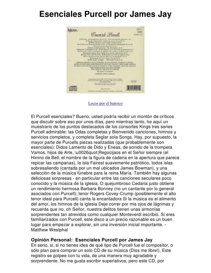 Esenciales Purcell por James Jay                                   Locos por el barroco   El Purcell esenciales? Bueno, us...