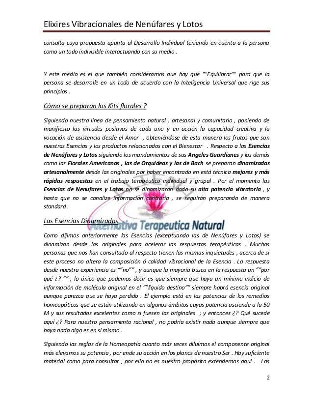 Elixires Vibracionales de Nenúfares y Lotos consulta cuya propuesta apunta al Desarrollo Indivdual teniendo en cuenta a la...