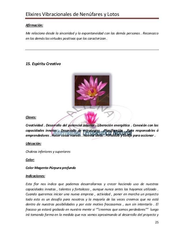 Elixires Vibracionales de Nenúfares y Lotos Afirmación:  Me relaciono desde la sinceridad y la expontaneidad con las demás...