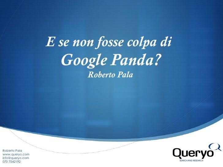 E se non fosse colpa di  Google Panda? Roberto Pala Roberto Pala www.queryo.com info@queryo.com  070 7542192
