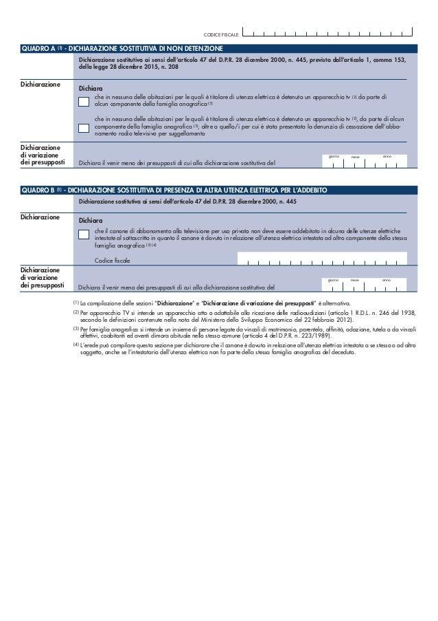 QUADRO A (1) - DICHIARAZIONE SOSTITUTIVA DI NON DETENZIONE Dichiarazione sostitutiva ai sensi dell'articolo 47 del D.P.R. ...