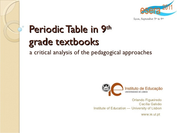 Periodic Table in 9 th   grade textbooks a critical analysis of the pedagogical approaches Orlando Figueiredo Cecília Galv...