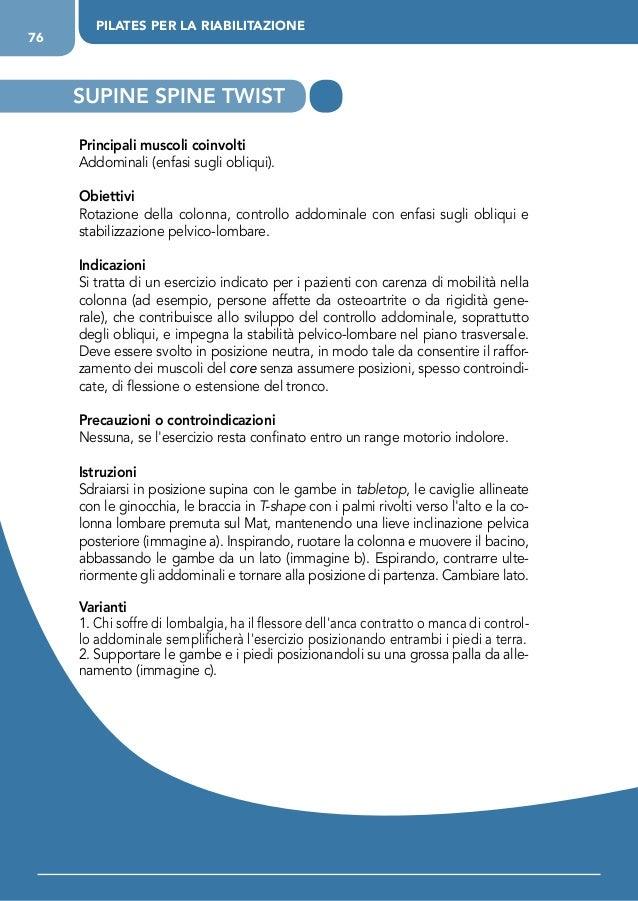 PILATES PER LA RIABILITAZIONE 76 Principali muscoli coinvolti Addominali (enfasi sugli obliqui). Obiettivi Rotazione della...