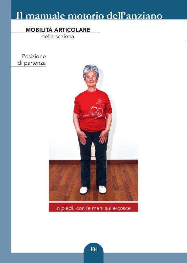104 Il manuale motorio dell'anziano In piedi, con le mani sulle cosce Posizione di partenza MOBILITÀ ARTICOLARE della schi...