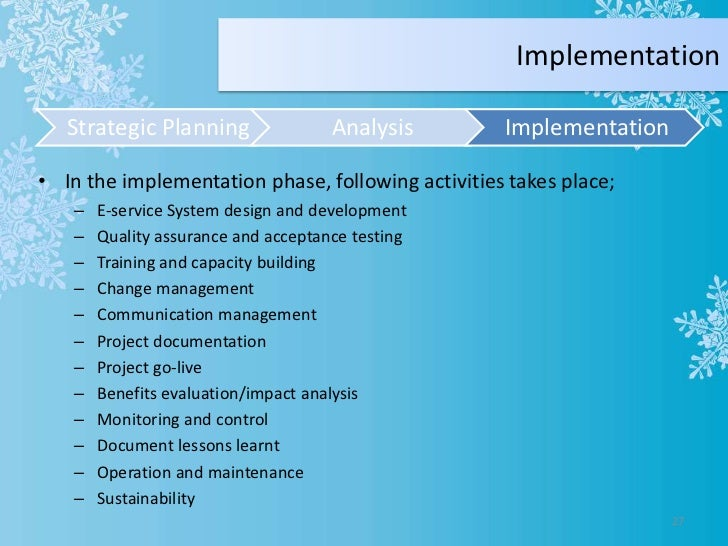 Eservices Project Planning