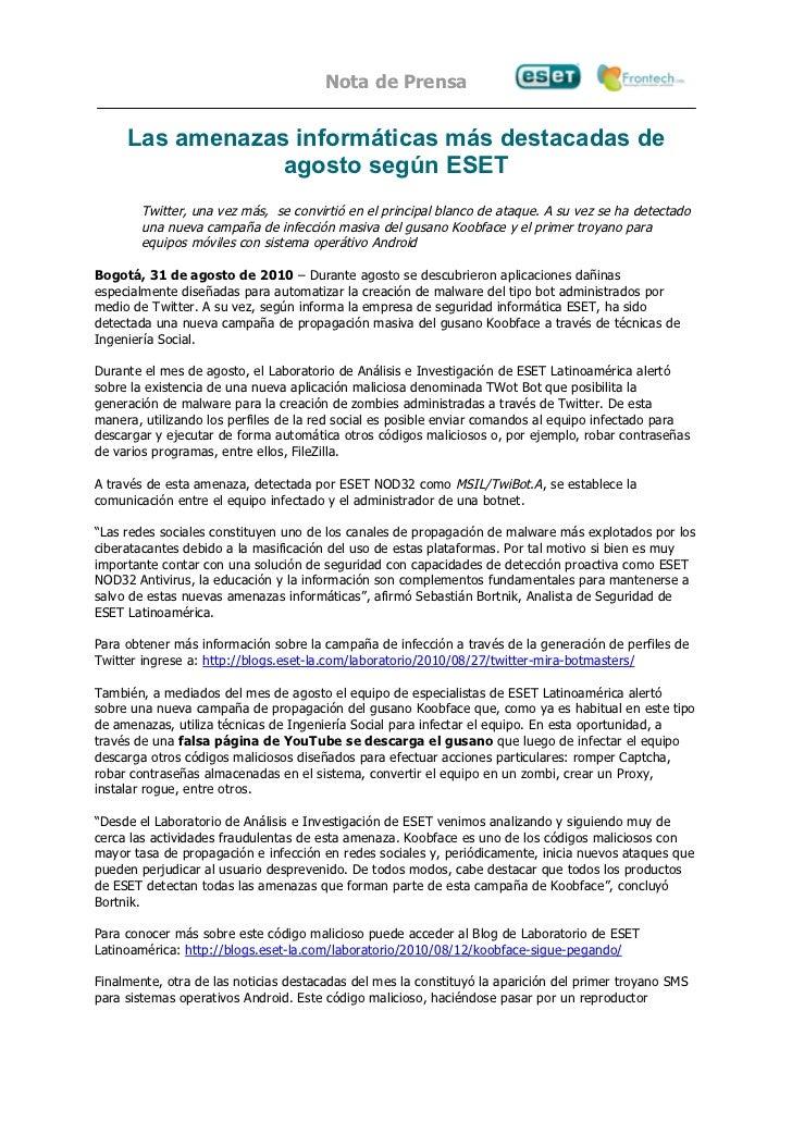 Nota de Prensa     Las amenazas informáticas más destacadas de                 agosto según ESET        Twitter, una vez m...