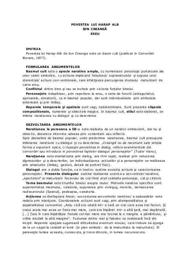 POVESTEA LUI HARAP ALB ION CREANGĂ ESEU IPOTEZA Povestea lui Harap-Alb de Ion Creanga este un basm cult (publicat in Convo...